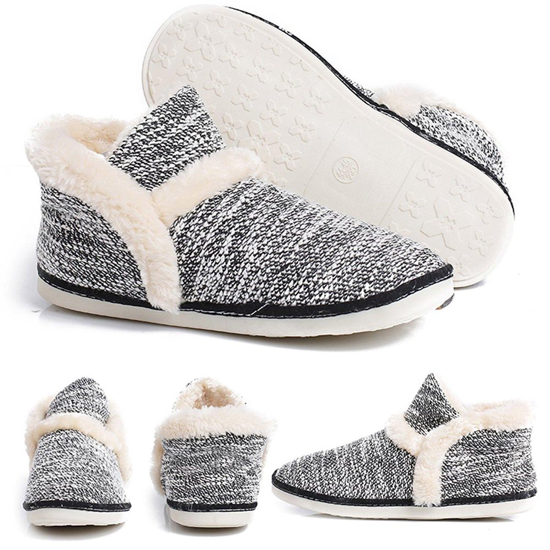 pestor Women's Mid Calf Boot Slippers Winter Warm Indoor Outdoor Slipper Snow Bootie Boots Shoe
