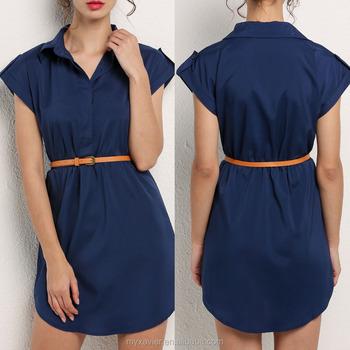 2017 Mujeres Vestidos Azul Marino Cap Manga Estiramiento Gasa Camiseta Vestido Con Cinturón Casual Buy 2017 Vestidos De Las Mujeresropavestido De