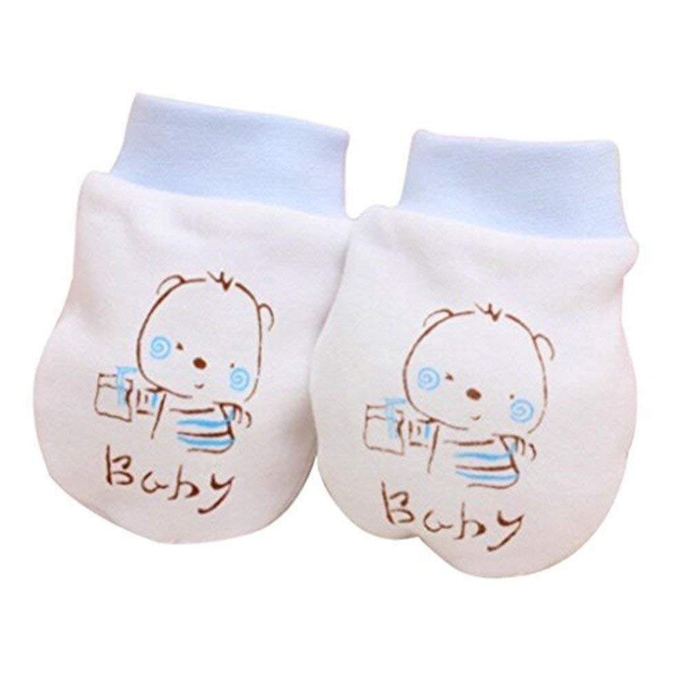 2 Pairs Cute Cartoon Baby Boys Girls Anti Scratch Mittens Cotton Newborn Gloves