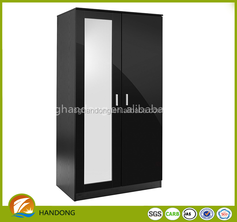 Simple design gloss black wood cloth wardrobe cabinet storage with mirror