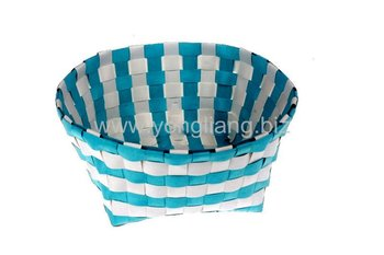 100% Handmade Promotion Shiny Pp Plastic Straps Woven Storage Baskets