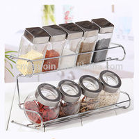 9 Clear Glass Spice Bottles Set With Lids and Metal Shelf