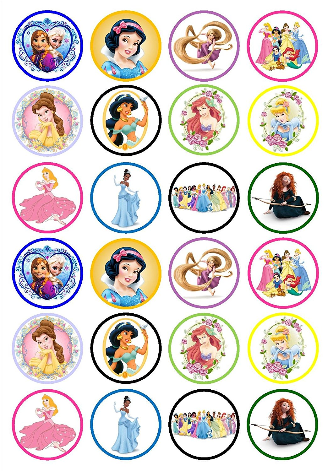 Buy Disney Princess Edible Wafer Card Cupcake toppers Pack ...