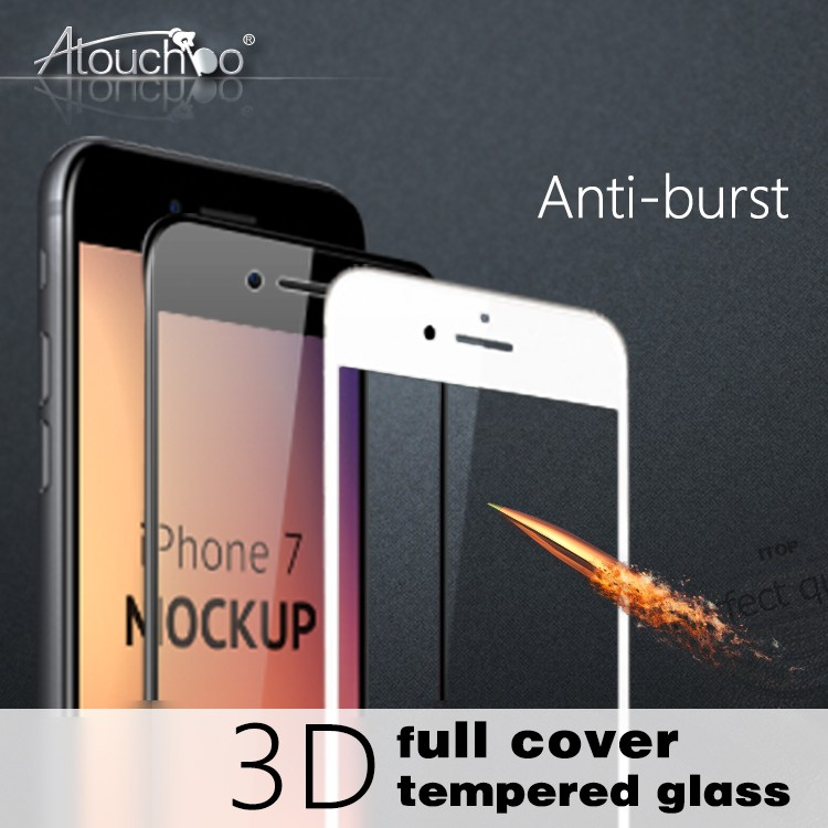 Atouchbo High quality 0.33 mm 3D 9H Tempered Glass Cell Phone Screen Protector for iPhone 6 6plus 7 7plus