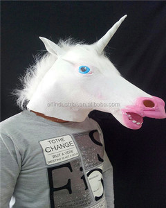 Popular Realistic Full Head Animal Masquerade Halloween Party Prop Latex Unicorn Mask