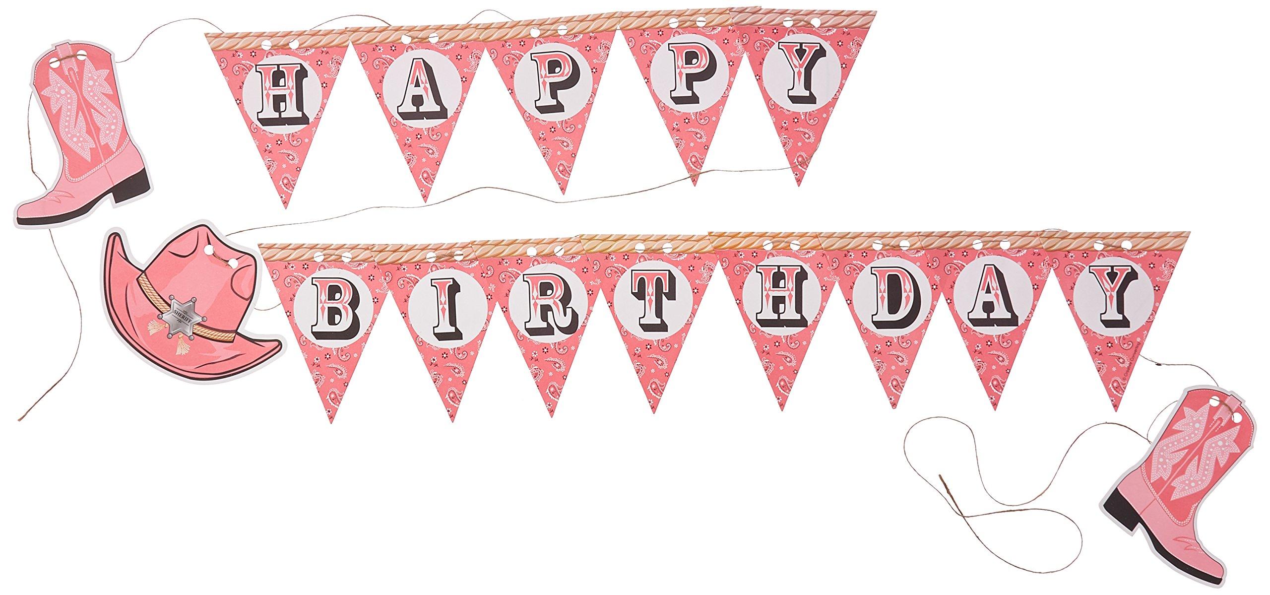 buy creative converting pink bandana cowgirl happy birthday pennant