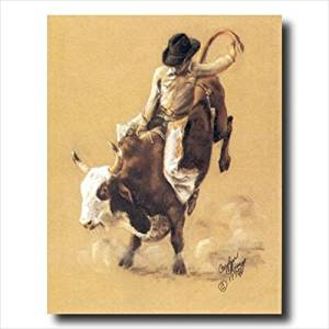 Cowboy Western Rodeo Bull Riding Wall Picture Art Print