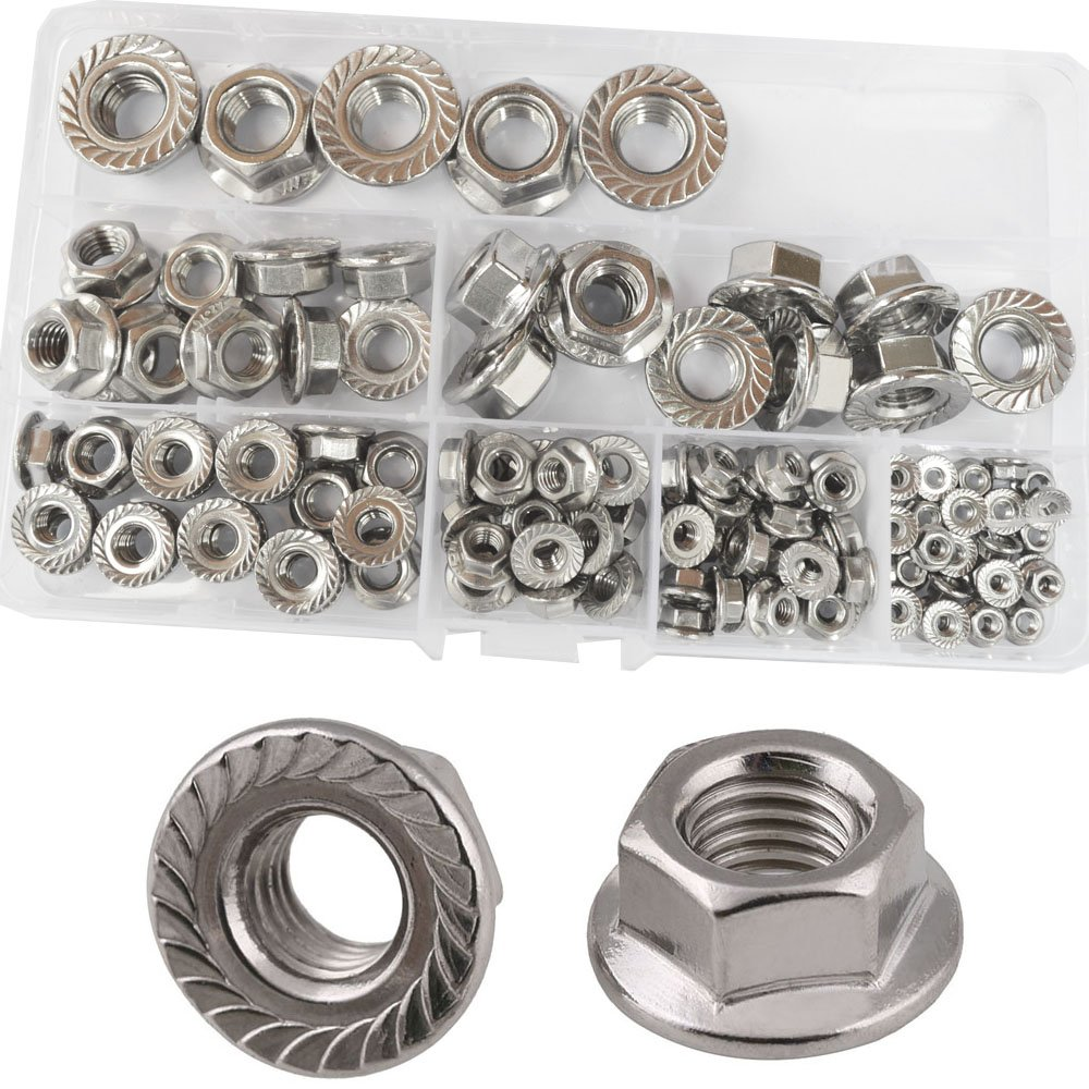Flange Nuts Hex Lock Self-Locking Metric Thread Serrated Nut 304 Stainless Steel Assortment Kit 125Pcs,M3 M4 M5 M6 M8 M10 M12