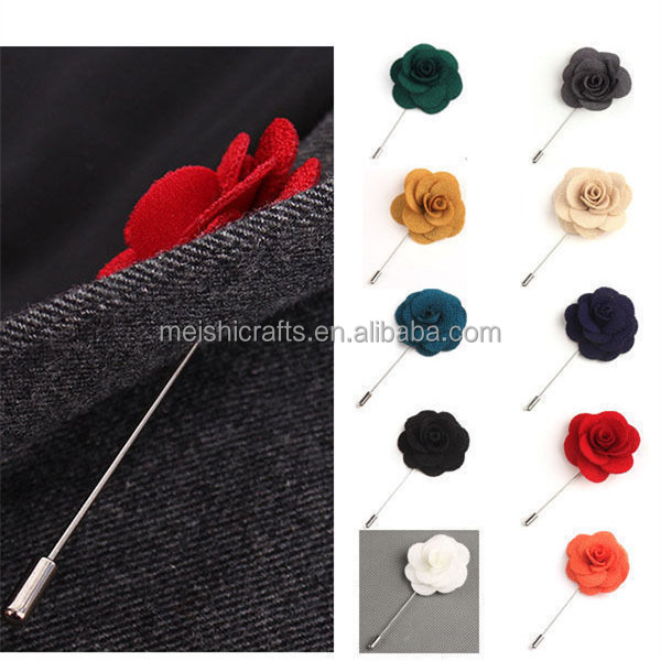 HOT Men Flower Shape Lapel Stick Brooch Pin Suit Tuxedo Wedding Boutonniere