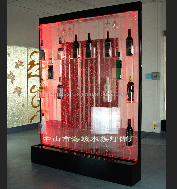 Led lighting bubble water wine rack,with color changing,straight water bubble effect,