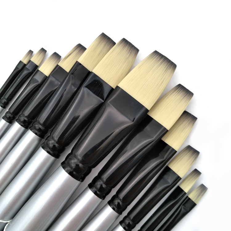 12 pcs Multi-Function Fine Art Brushes with Bicolor Synthetic Hair and Black Chrome Brass Ferrule for Beginners Painters Artists