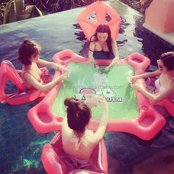 Factory Hot Selling Funny Outdoor Portable Water Play Equipment Pvc Inflatable Floating Pool Poker Table With 4 Chair Buy Portable Pool Table Cheap