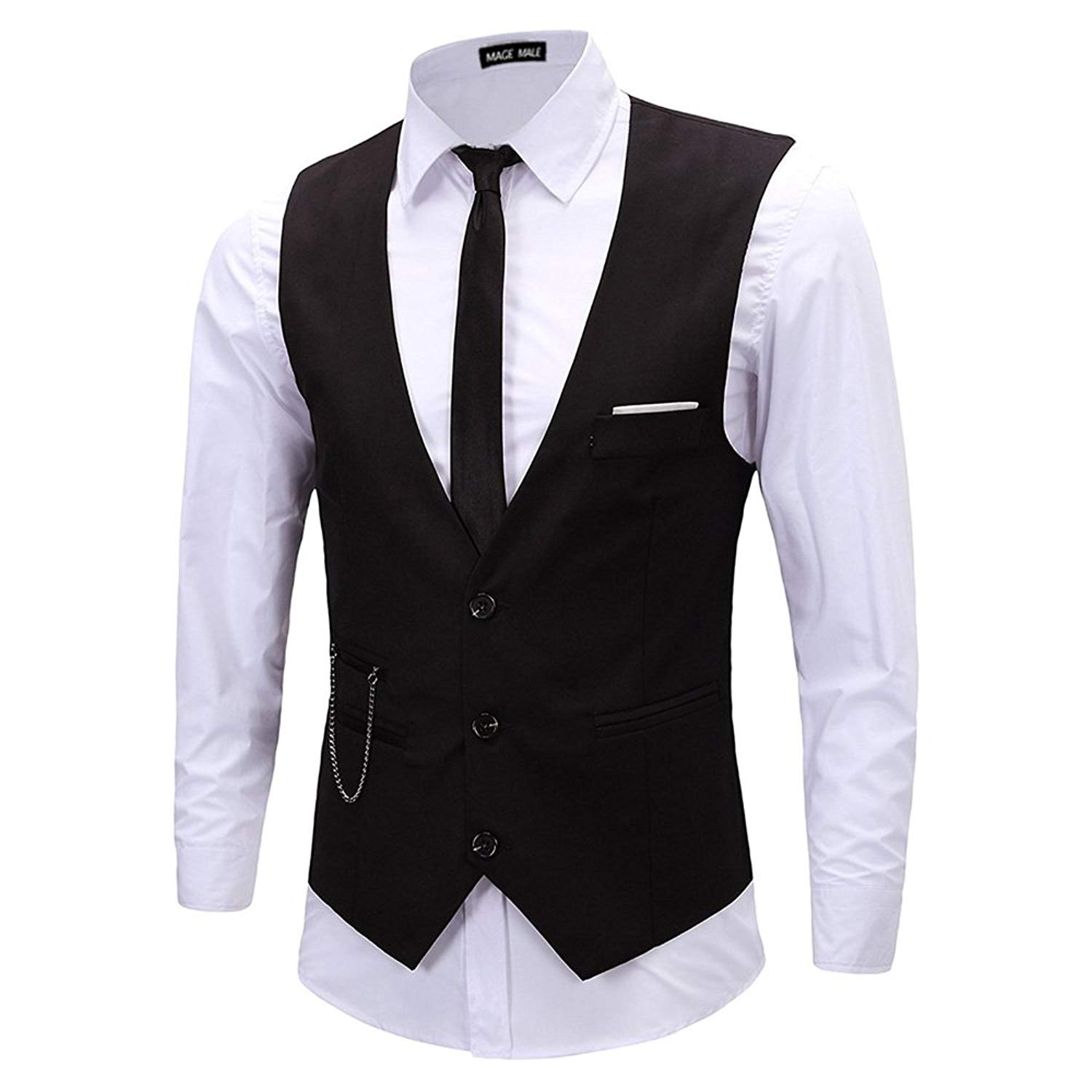 MAGE MALE Mens Slim Fit Suit Vests V-Neck Formal Business Sleeveless Dress Suit Separate Waistcoat