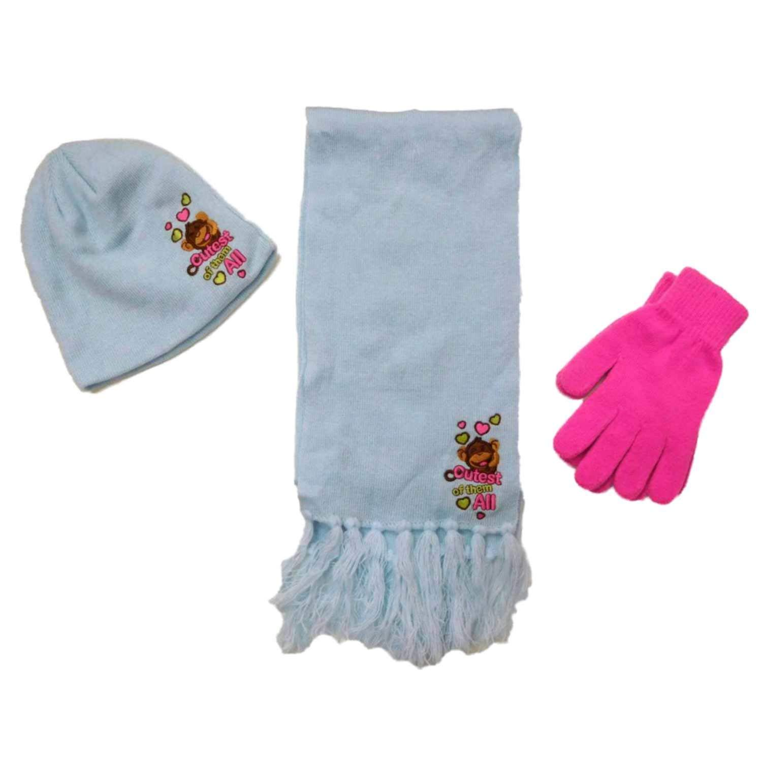 fc42cf44784 Get Quotations · Girls Blue Love Monkey Beanie Hat Gloves   Scarf Set