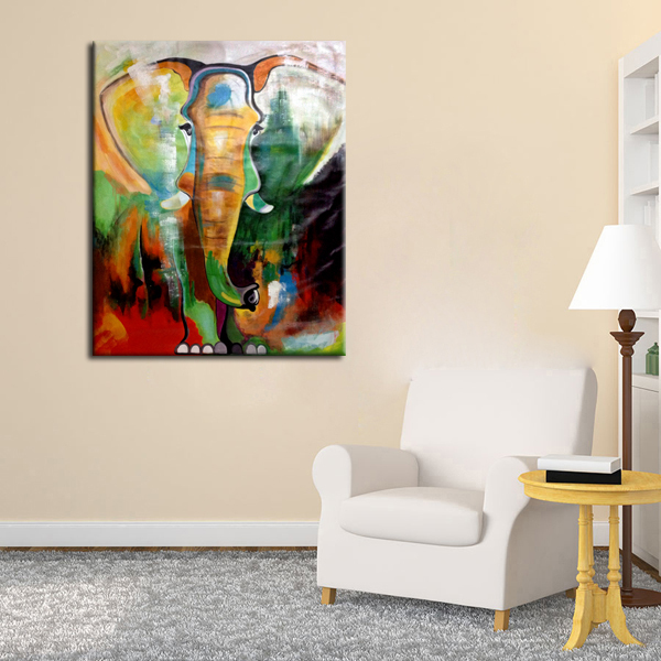 Thick textured oil painting canvas of elephant