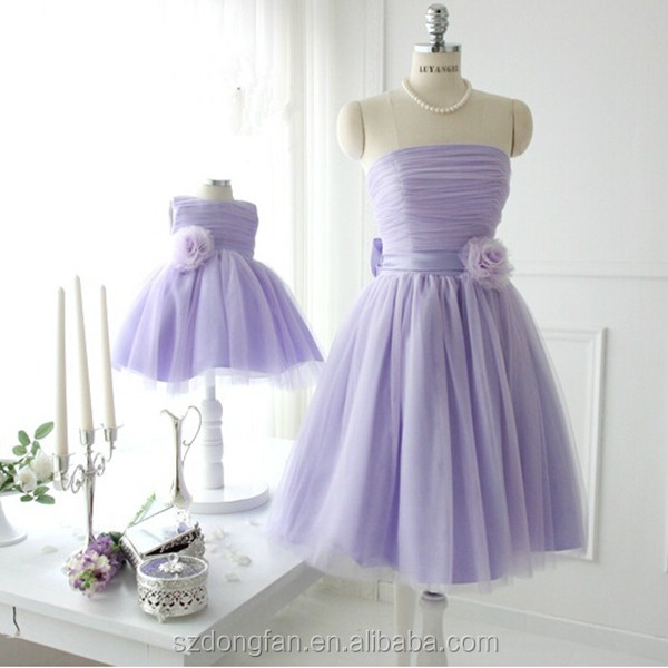 Wholesale Match Mom And Daughter Dress Girls Purple Tutu Flower Party
