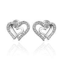 Korean Rhinestone Crystal Avenue Double Hearts Shaped Stud Earring