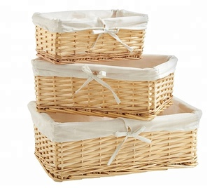 Wholesaler Bulk Custom Size Cheap Willow Wicker Storage Baskets with Lining