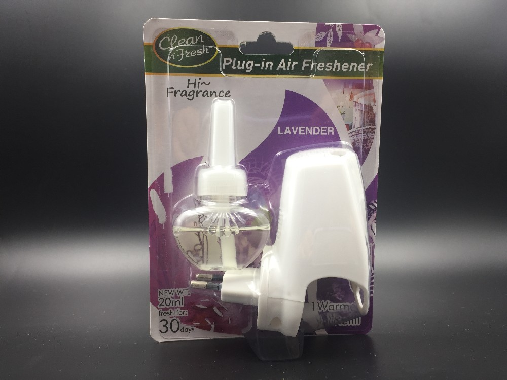 Plugin air freshener electric scented oil warmer kit, lavender/vanilla/clean line refill