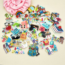 1.2inch 43 designs in stock cartoon Back to school planar resin flatback craft for DIY hair accessories