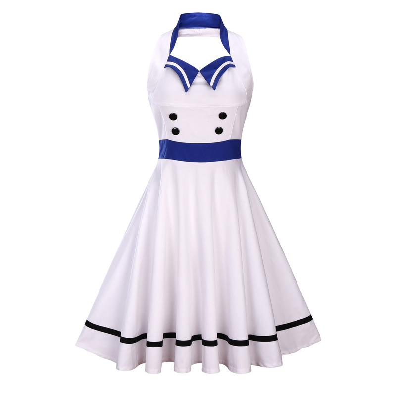 R&amp;H Women Summer Retro <strong>Dress</strong> Sleeveless 2017 Spaghetti Strap White yellow Solid Elegant A-Line button Knee-Length <strong>Vintage</strong> <strong>Dress</strong>
