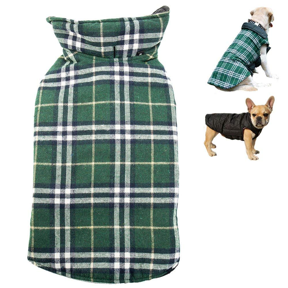 LITTLEGRASS Waterproof Reversible Dog Coat Winter Warm Windproof Dog Jacket British Style Plaid Dog Vest Cold Weather Pet Clothes for Small Medium Large Dogs with Furry Collor (XL, Green)