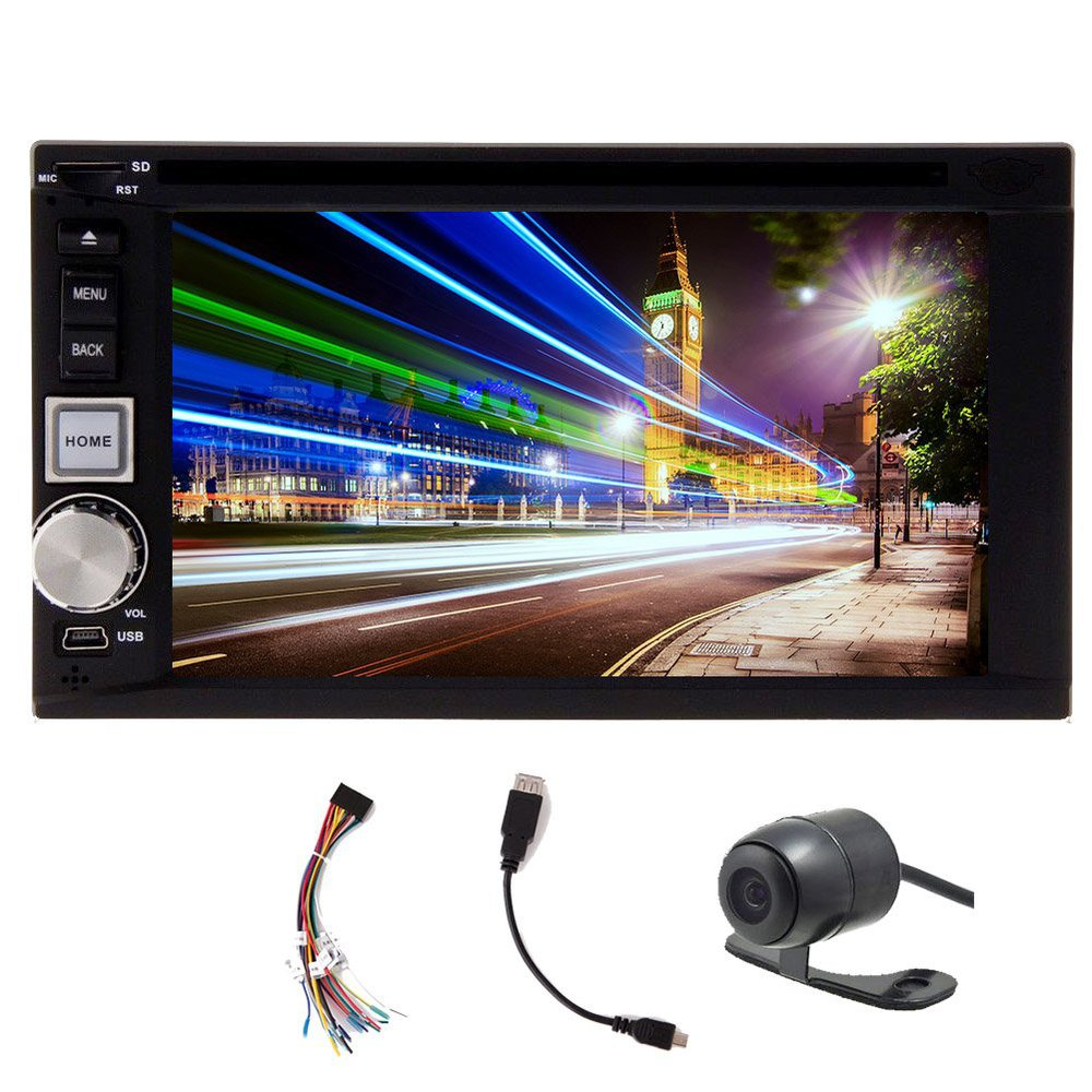 Free camera included Double Din In-Dash car DVD player stereo radio 6.2-inch Touch screen Bluetooth MP3 AM FM Radio USB SD Aux