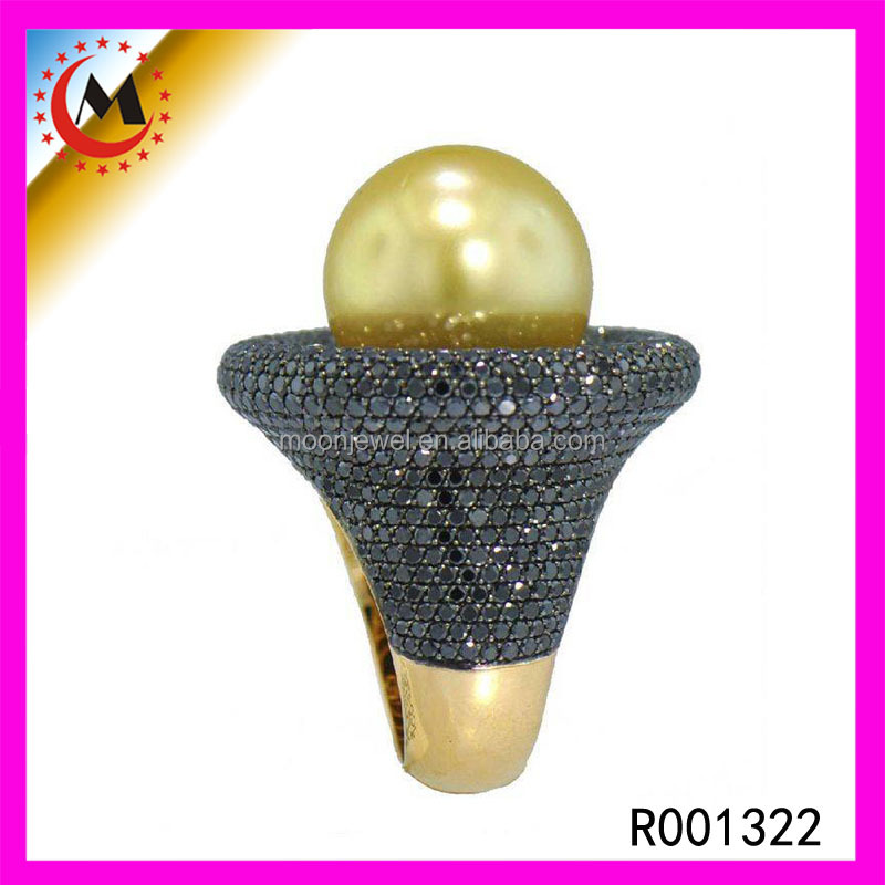Full Black Cz Mirco Paved Vintage Pearl Engagement New Design Pearl Finger Ring