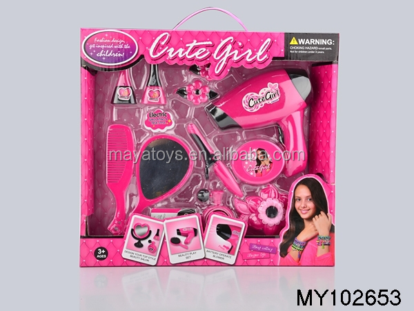 Toy Hair Salon : Pink color plastic hair salon toy dryer beauty