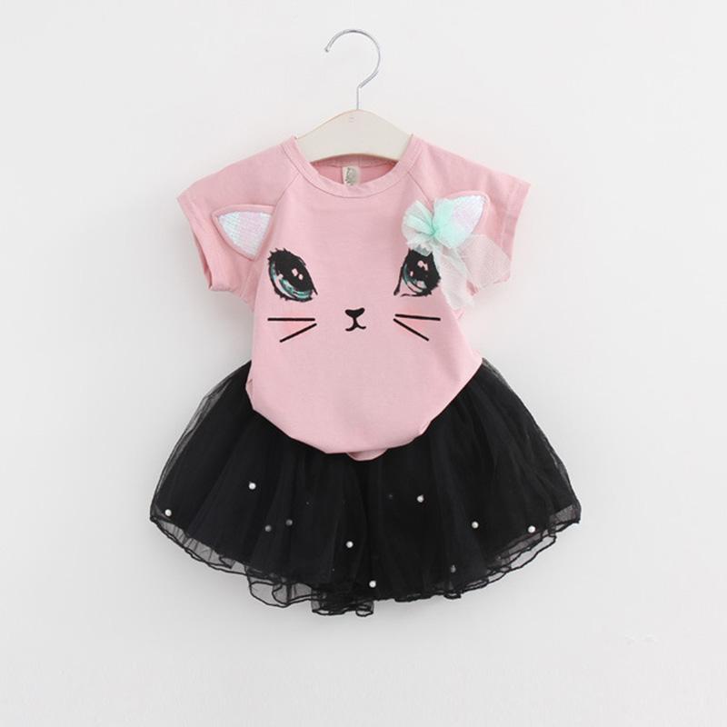 f1f6161a78e2 Bear Leader Girls Dress Brand Girls Clothing Sets Kids Clothes Cartoon Cat  Print Pearls Voile Dress