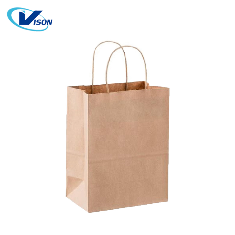 Hot selling custom logo printing recycle kraft paper shopping bag