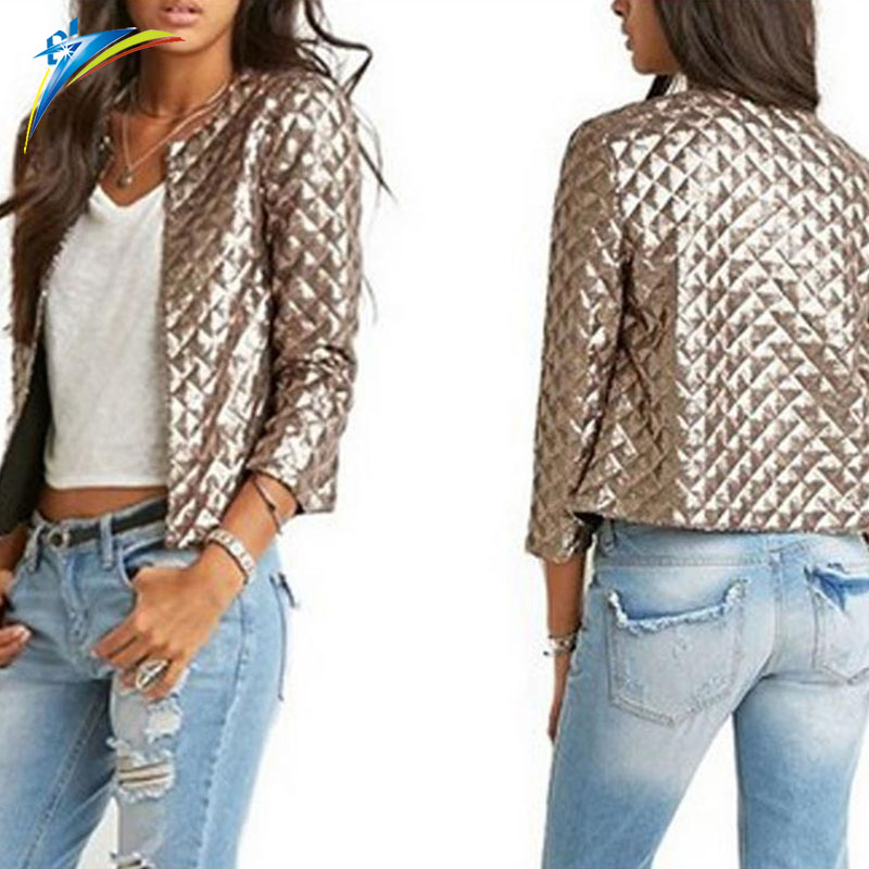 New Spring Style Vogue Women Slim Outwear Round Neck Gold Brown Lozenge Sequins Jackets Stylish Solid Fashion Short Coat