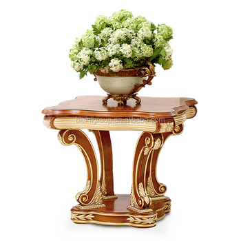 Classic Exquisite French Style Golden Trim Square Coffee Table, Antique Wood Carving Furniture BF12-10214b