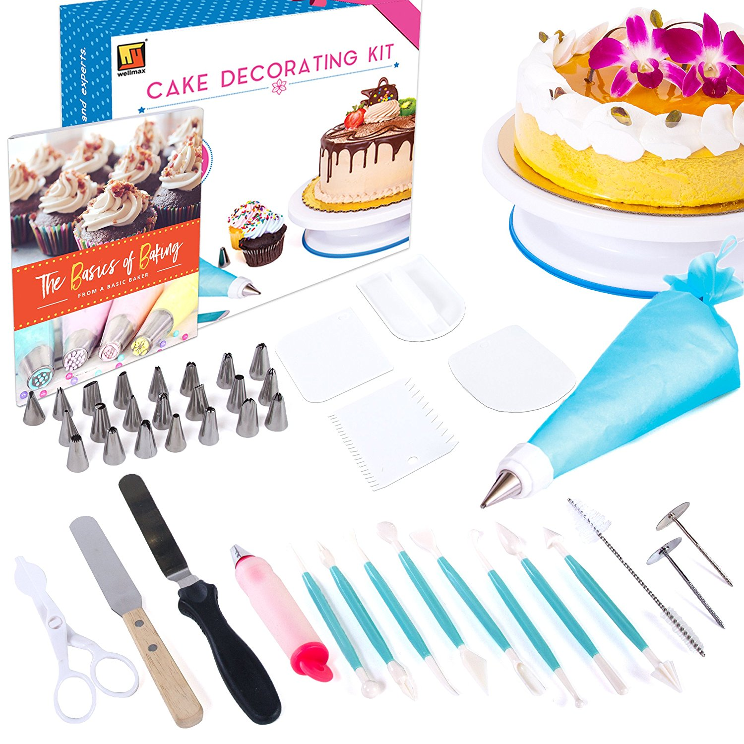 Cake Decorating Kit by Wellmax | Complete Set of Baking Supplies Incl. Pastry Bag and Cake Turntable Stand for Cupcakes | 24pc Russian Piping Tips + Large Selection of Silicone Tools