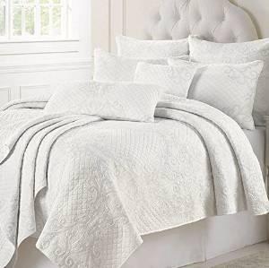 Auvoau Quilt Bedspread Set White Patchwork Quilt Bedspread Set Embroidery Bedspread Set (Queen, 1)