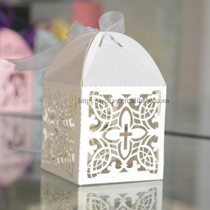 laser cut cross paper candy boxes , wedding chocolate boxes , indian wedding gifts for guests