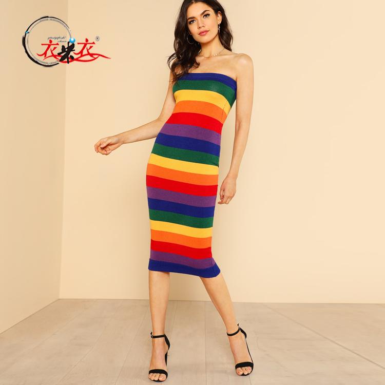 Nuove Donne di Arrivo di Fantasia Multicolore Della Banda Sexy Senza Bretelle Aderente Stretto Tubo Rainbow Dress