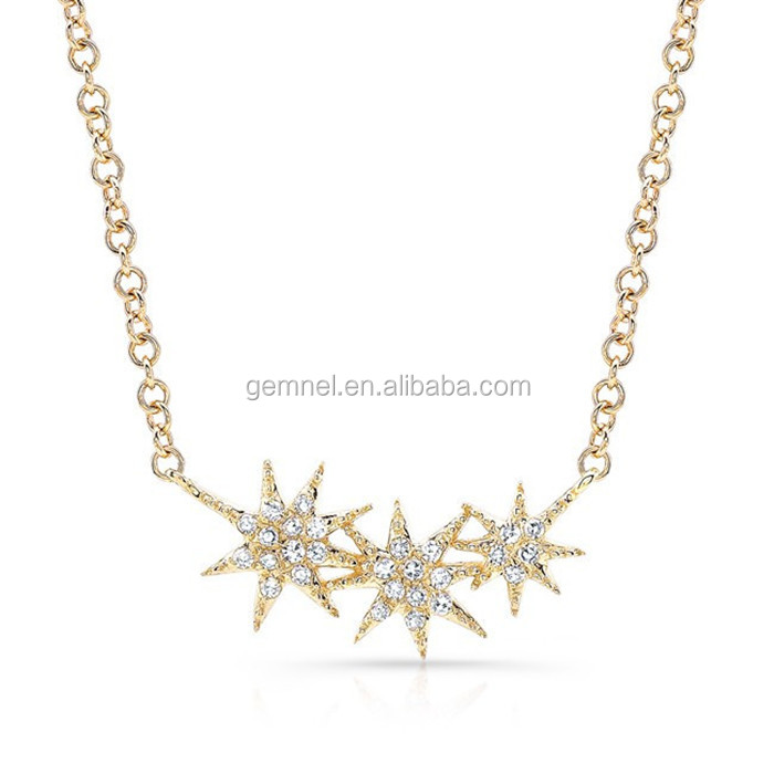 Diamond triple starburst necklace sterling necklace designs pure silver