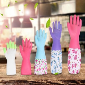 Household single-layer sleeves long velvet-free latex waterproof cleaning rubber gloves