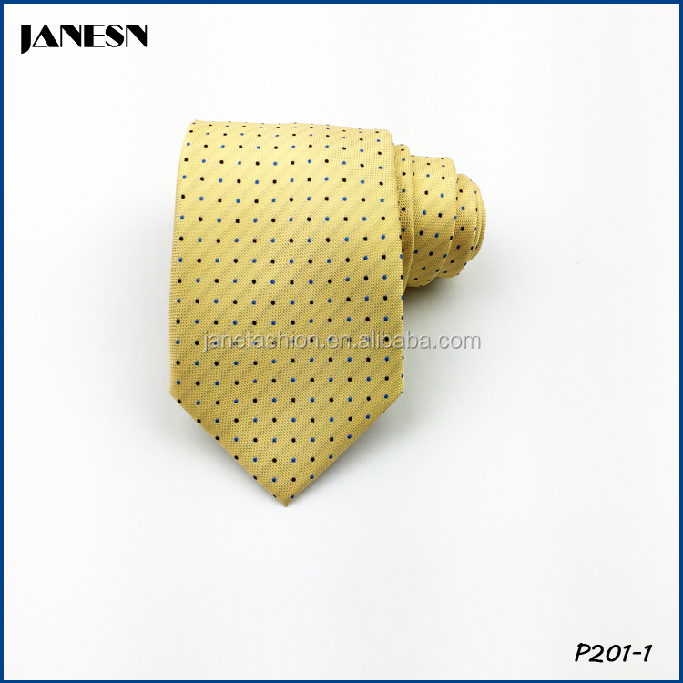 Dot style polyester neckties yellow men tie