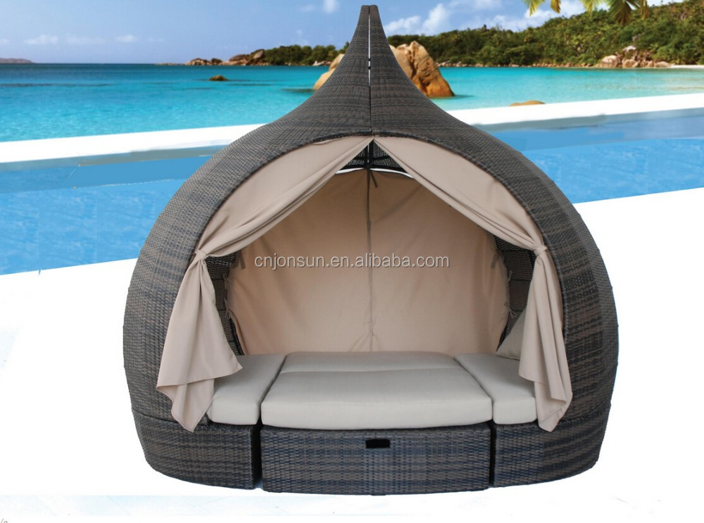 Hot Sale Rattan Outdoor Round Sunbed With Canopy air lounger