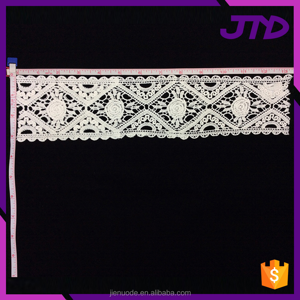 Guangzhou Factory White 100 Cotton Lace Embroidery Fabric