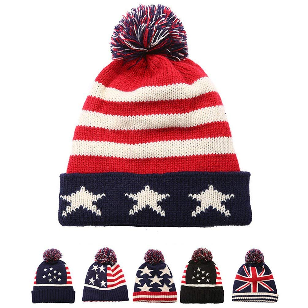 177680e5b5bc75 Get Quotations · American Flag Knit Beanie Hat - USA Flag Winter Oversized  Soft Pom Poms Hats Caps for