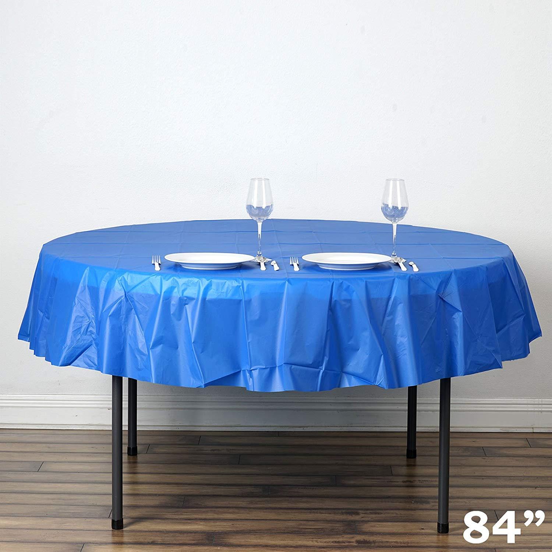 superior Round Disposable Tablecloths Part - 13: Get Quotations · BalsaCircle 6 pcs 84-Inch Royal Blue Round Disposable  Plastic Tablecloths Table Covers Affordable Cheap