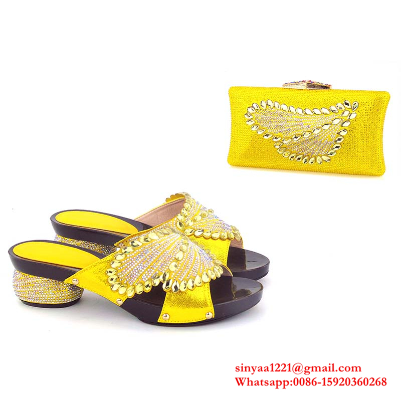 party shoes bag genuine sets Sinyafashion low italian and heel nigeria leather SWXWUOAPqw