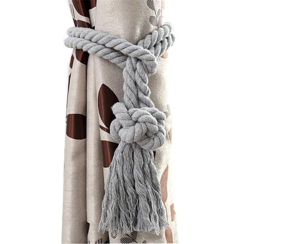 2 pieces of cotton thread cotton cord curtains tie curtains deduction curtains tied rope rope hanging hook Curtain Tiebacks / Tassel Window Cotton Rope Tie Ball Back Accessories (Tie, Gray)
