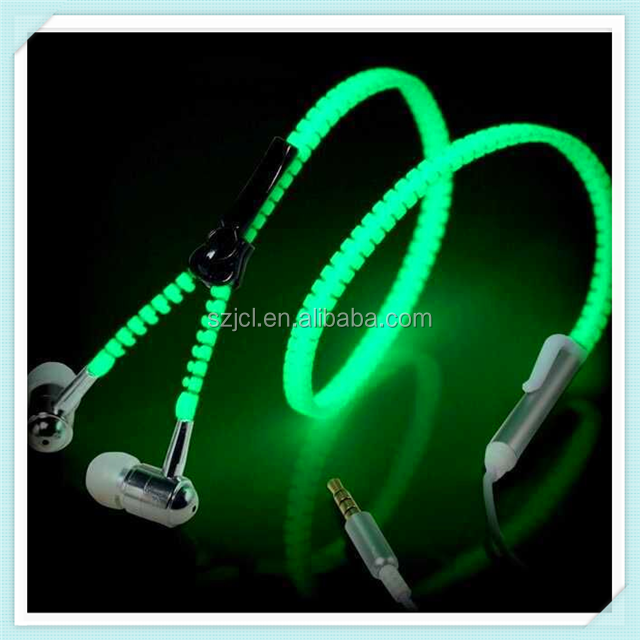 2017 Best Luminous Mp3 Headphone Zipper Earphone Grow In Dark Under $1