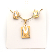 Fashion luxury crystal Gold stainless steel earring necklace jewelry set