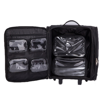 Professionele vanity make up organizer soft travel beauty box custom trolley cosmetische tas rollende make-up geval