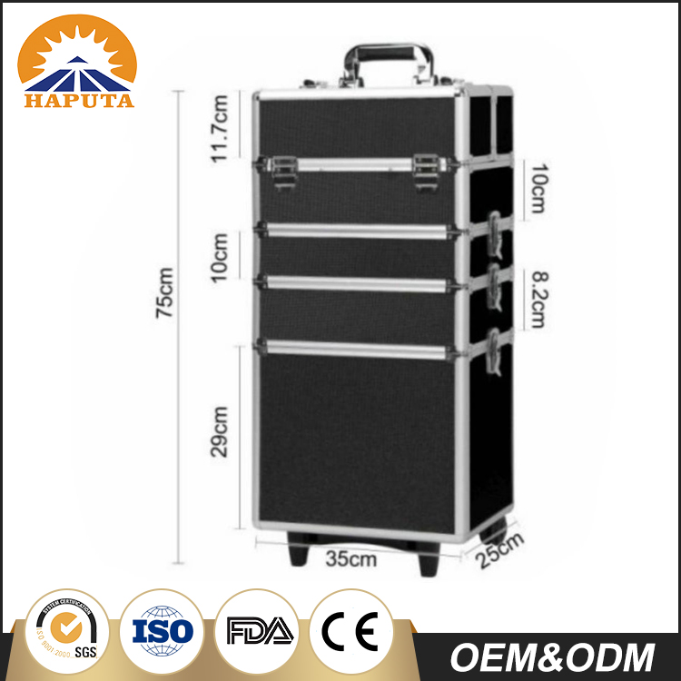 Customized Metal Frame Professional Rolling Makeup Case